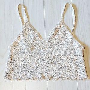 Cute crochet look crop tank